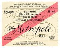 Dry Metropole California pink Champagne, Simi Wineries, Healdsburg
