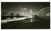 Golden Gate Bridge construction, view from Baker Beach
