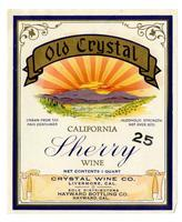Old Crystal California sherry wine, Crystal Wine Co., Livermore