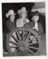 Shelley Bisio, Rodeo Queen Barbara Kennelly, Diane Abbott at the Hayward Rodeo, Alameda County, California