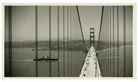 Completed Golden Gate Bridge with auto and pedestrian traffic