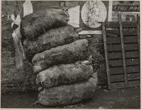 Sacks of potatoes, Clark and Front Streets, San Francisco