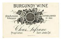 New Almaden Vineyard Burgundy wine, Chas. Lefranc, San Jose