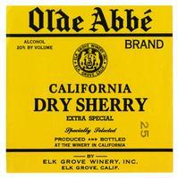 Old Abbé Brand California dry sherry, Elk Grove Winery, Elk Grove