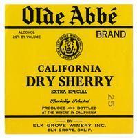 Old Abbé Brand California dry sherry, Elk Grove Winery, Elk Grove