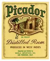 Picador distilled rum, World Importers, San Francisco