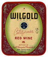 Wilgold Brand California red wine, Eagle Vineyard Products Co., San Francisco