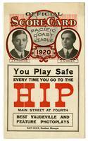 Official score card, Pacific Coast League, 1920