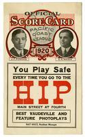 Official score card, Pacific Coast League, 1920