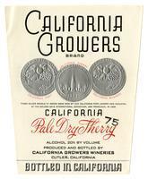 California Growers Brand California pale dry sherry, California Growers Wineries, Cutler