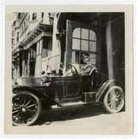 Fire fighter in fire car, Los Angeles
