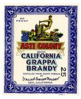 Asti Colony Brand California grappa brandy, Italian Swiss Colony, Asti