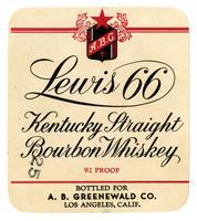 Lewis 66 Kentucky straight bourbon whiskey, A. B. Greenwald Co., Los Angeles