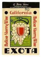 Exota mellow sherry wine, Elk Grove Winery, Elk Grove