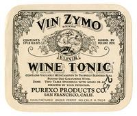 Vin Zymo Brand wine tonic, Purexo Products Co., San Francisco