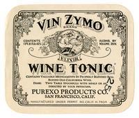 Vin Zymo Brand wine tonic, Purexo Products Co., San Francisco