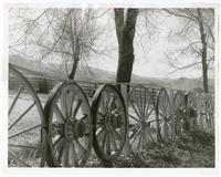 Railings constructed from wagon wheels
