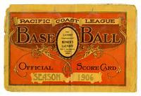 Official score card, Pacific Coast League Baseball, 1906