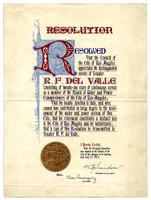 Resolution. Resolved that the Council of the City of Los Angeles appreciates the distinguished service of Senator R. F. del Valle....
