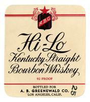 Hi-Lo Kentucky straight bourbon whiskey, A. B. Greenwald Co., Los Angeles