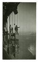 Elevator with workers and guests, Golden Gate Bridge opening celebration, May 1937