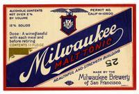 Milwaukee malt tonic, Milwaukee Brewery of San Francisco