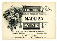 Fine Old Madeira wine, Old Parish Wineries, Santa Clara