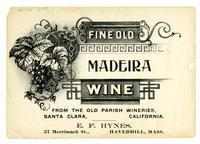 Fine Old Madeira wine, Old Parish Wineries, Santa Clara