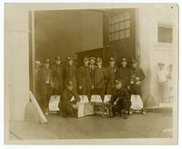 Fire fighters of Engine Co. No. 23 with portable fire extinguishers, Los Angeles
