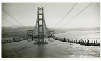 Golden Gate Bridge, constructing catwalks