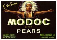 Modoc Brand pears, Modoc Orchard Co., Medford, Oregon