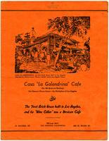 "Menu, Casa ""La Golondrina"" Cafe, Los Angeles"