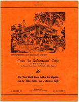 """Menu, Casa """"La Golondrina"""" Cafe, Los Angeles"""