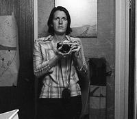 Patti Walters in darkroom, Richmond District