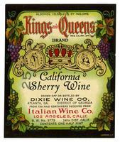 Kings and Queens Brand California sherry wine, Italian Wine Co., Los Angeles
