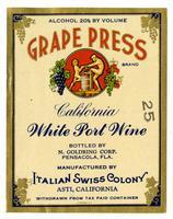 Grape Press Brand California white port wine,  Italian Swiss Colony, Asti