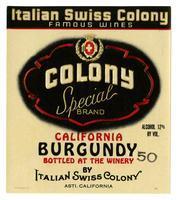 Colony Special Brand California Burgundy, Italian Swiss Colony, Asti