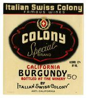 Colony Special Brand California Burgundy, Italian Swiss Colony, Asti