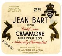 Jean Bart Brand California Champagne, Cella Wine Company, Fresno