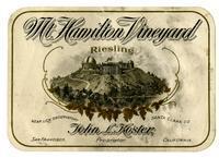 Mt. Hamilton Vineyard riesling, Santa Clara County