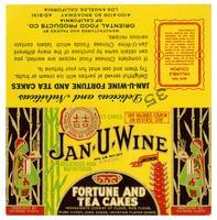 Jan-U-Wine brand fortune and tea cakes, Oriental Food Products Co. of California, Los Angeles