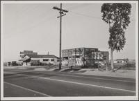 Shacks along roadside (typical), Main Street, looking northwest from corner of East Road; abandoned fruit stand lunchroom