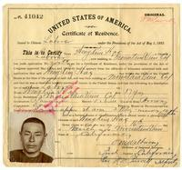 Certificate of residence for Wong Kin Hay [?], farmer, age 37 years, of Mountain View, California