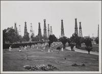 Oil wells and Sunnyside Cemetery, south of 27th Street, North Long Beach