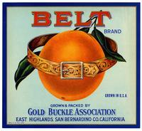 Belt Brand oranges, Gold Buckle Association, East Highlands