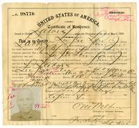 Certificate of residence for Lu See Len, farmer, age 40 years, of San Jose, California