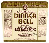 Dinner Bell semi-sweet California red table wine, E. & J. Gallo Winery, Modesto