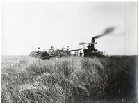 Agricultural workers with steam combine at Miller Brothers Ranch, Colusa County, 1890
