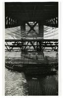 Golden Gate Bridge construction, safety netting beneath roadway