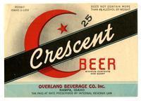 Crescent beer, Overland Beverage Co., Inc., Nampa, Idaho